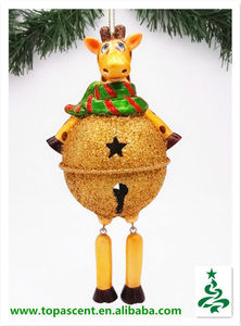 2014 bulk cute glass reindeer with christmas bell belly ornament from direct factory