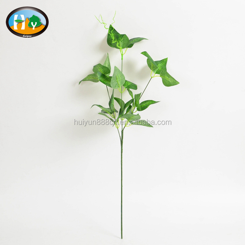 cheap 3 branches green leaves for artificial leaf wall