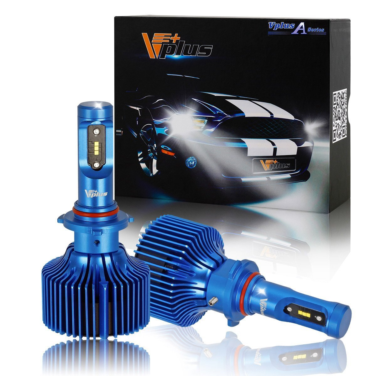 Vplus Q Series LED Headlight Bulbs w/Clear Arc-Beam Conversion Kit -9005 HB3 100W 9,000LM White All in One Headlamp Adjustable Light Pattern 8K Light Blue LED Replace HID&Halogen -(2pcs/set)