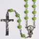 Cheap Jade Glass Beaded Necklace Crucifix Cross Rosary Beads Necklace Factory