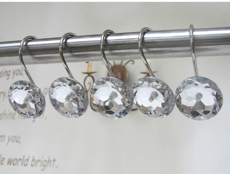 Small Crystal Shower Curtain Hooks Crystal Acrylic Hook Shower Curtain Hooks /shower Curtain Track Hooks