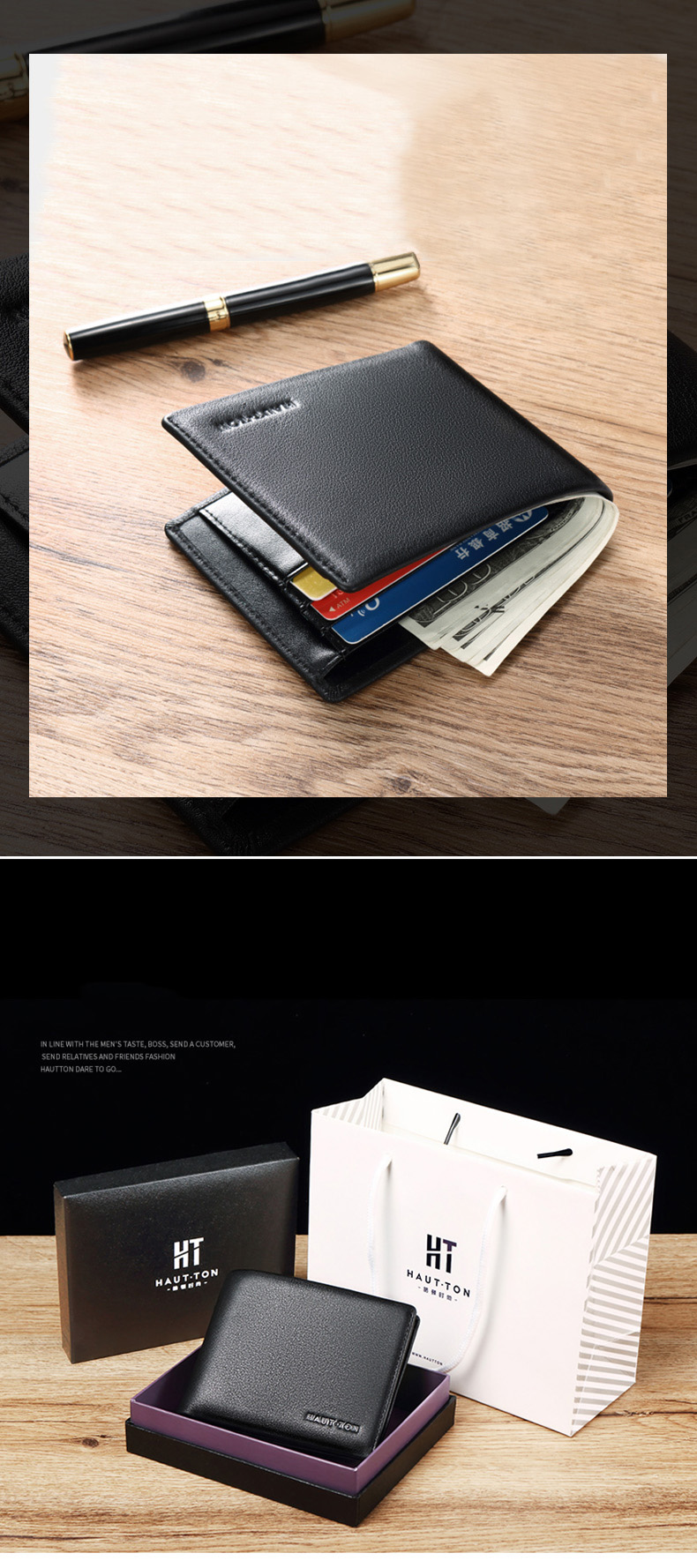 Fashion Slim Minimalist Wallets Custom Men Genuine Leather Wallet