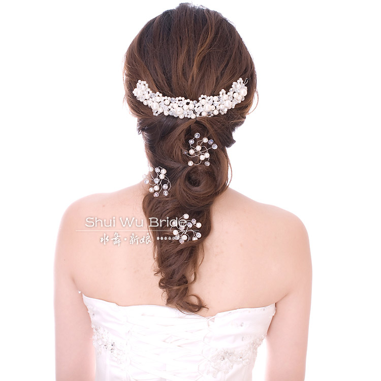 Bride crystal hair accessory pearl crystal the wedding hair accessory wedding accessories wedding hairpin set