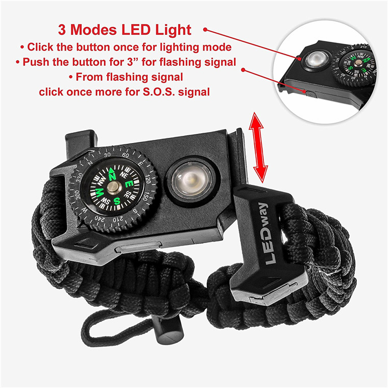 Adjustable SOS LED Survival Bracelet Outdoor Camping Rescue Paracord Bracelet