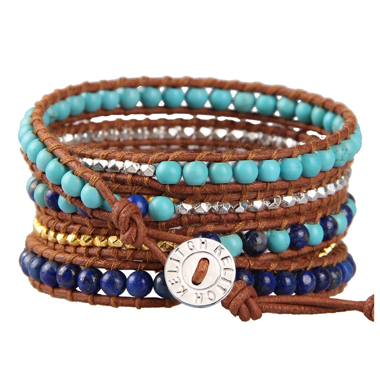 KELITCH Handmade Wrap Bracelets for Women Created-Turquoise Braided Bracelet on Brown Leather