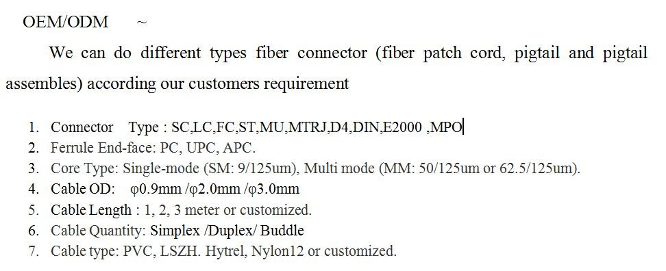 Customized Length Patch Cord 12 Core Buddle MPO Network Cable