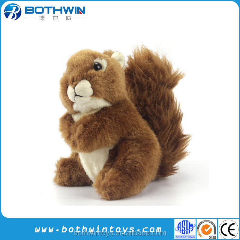Stuffed jungle forest animals soft lifelike squirrel toy