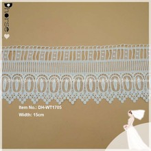 High quality off white polyester fancy embroidery water-soluble lace trim DH-WT1705