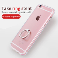 Transparent Crystal Clear soft tpu Silicone Protective sleeve ring holder phone case for iphone 7 6s Plus coque cover case