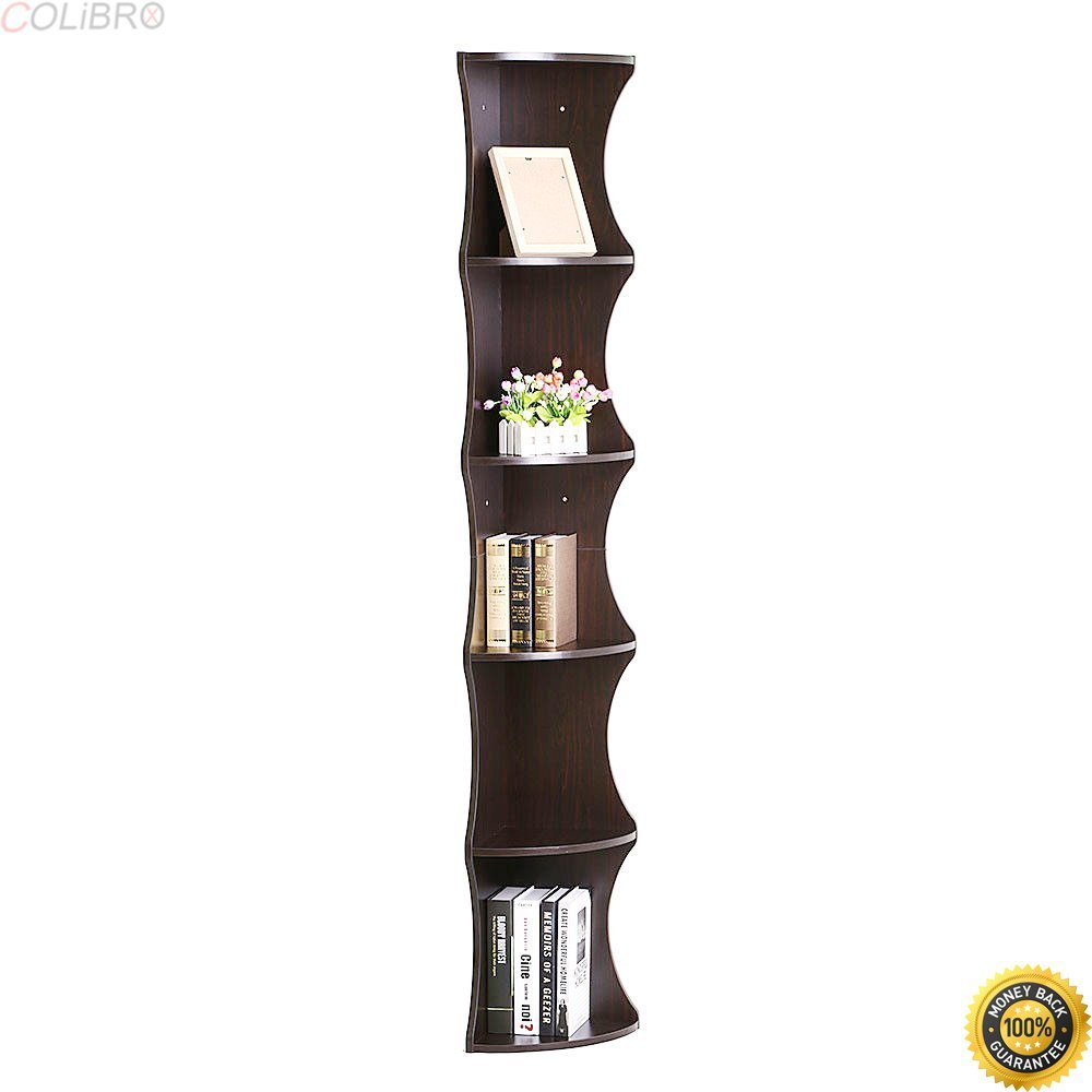 COLIBROX--Corner Wall Shelves 5 Tier Rack Display Storage Shelf Mount Home Decor Bookshelf,corner shelf home depot,corner shelf amazon,wall mounted corner shelf,wall mounted shelving,corner shelf