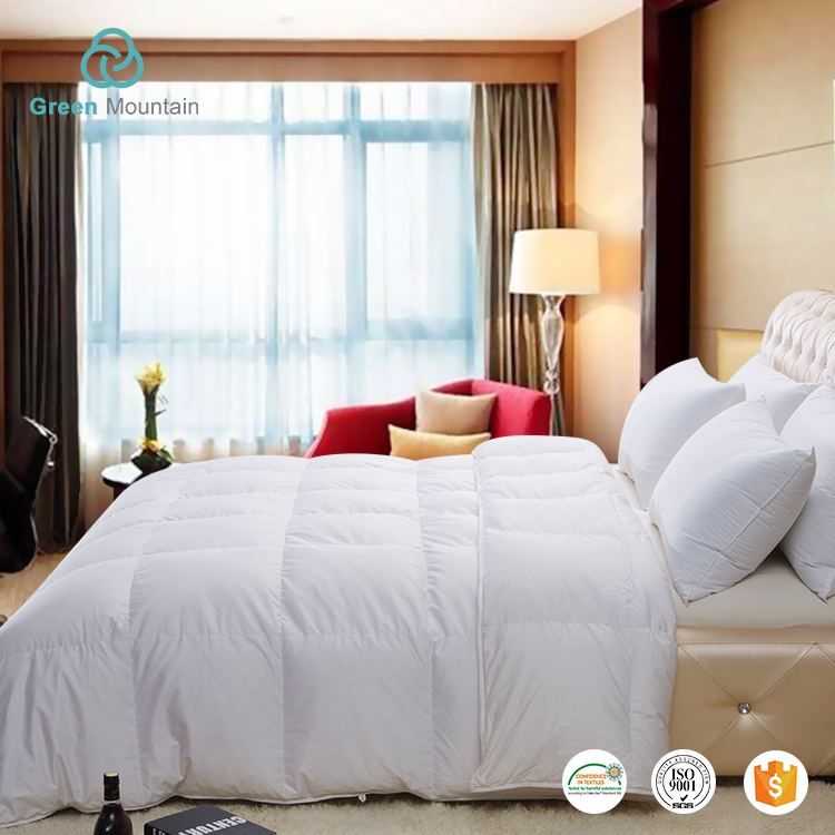Green Mountain Luxury hotel bedding 100% Cotton Large Square Box white Goose down king size hotel duvet