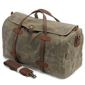 Waterproof Waxed Canvas Leather Trim Travel Tote Duffel Handbag Weekend Bag