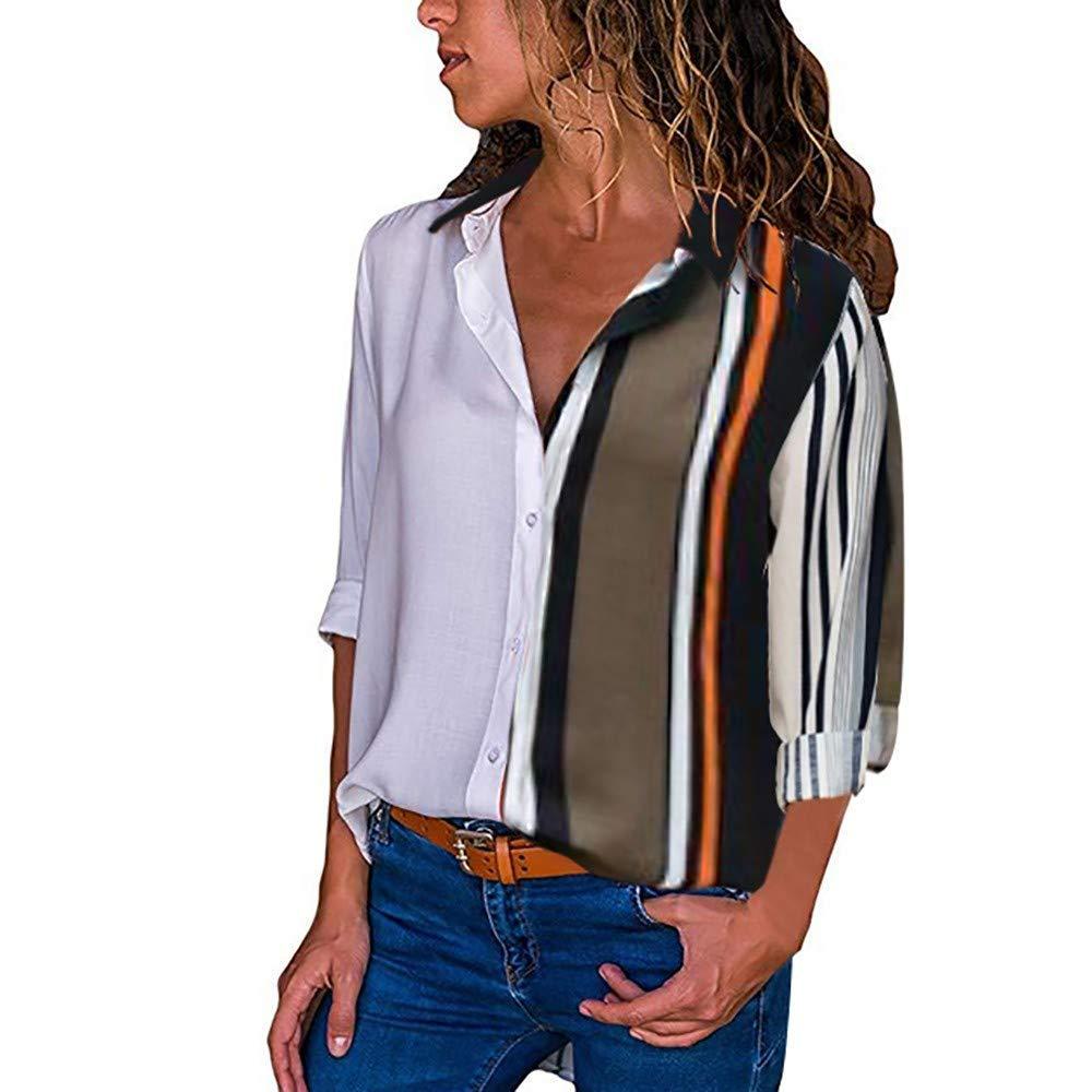 Xavigio Women Tops Clearance ! Women's Color Block Stripe Button Down Blouse Casual V-Neck Long Sleeve T Shirts Top