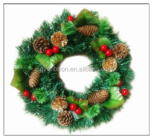 Shenzhen Supplies PET/PVC Hot Selling Artificial Fruit Styrofoam Wreath /garland rings old fashioned christmas decorations