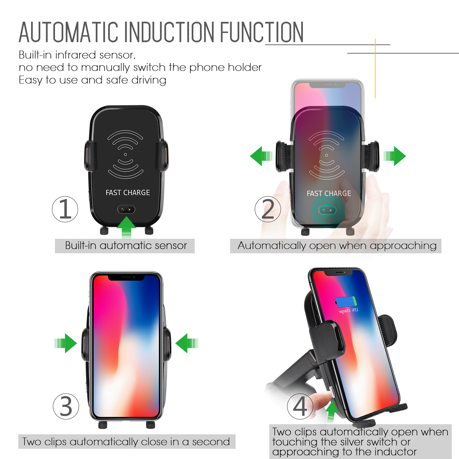 Oempromo fast wireless car phone charger with phone holder car wireless charger