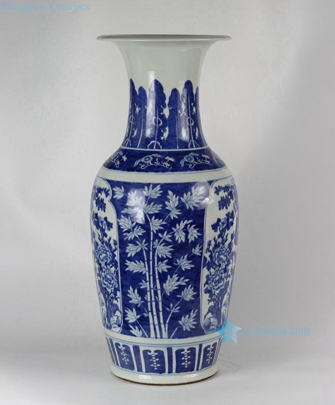 rylu49 a 26 5 zoll blau und wei hand bemalt medaillon blumen vogel porzellan vasen keramik und. Black Bedroom Furniture Sets. Home Design Ideas