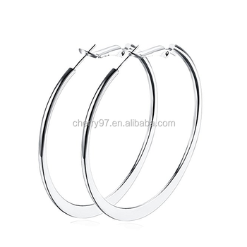 Simple Whole 18 K Rose Gold Plated For Womens Sensitive Ears 50mm Silver Hoop Earrings
