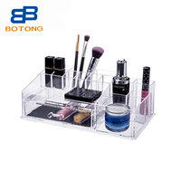 14 Compartment PS Acrylic Makeup and Jewelry Organizer with 1 Removable Drawers Crystal Cosmetic Box