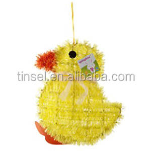 CUTE TINSEL EASTER YELLOW CHICK CHICKEN WALL PLAQUE WINDOW DISPLAY DECORATION