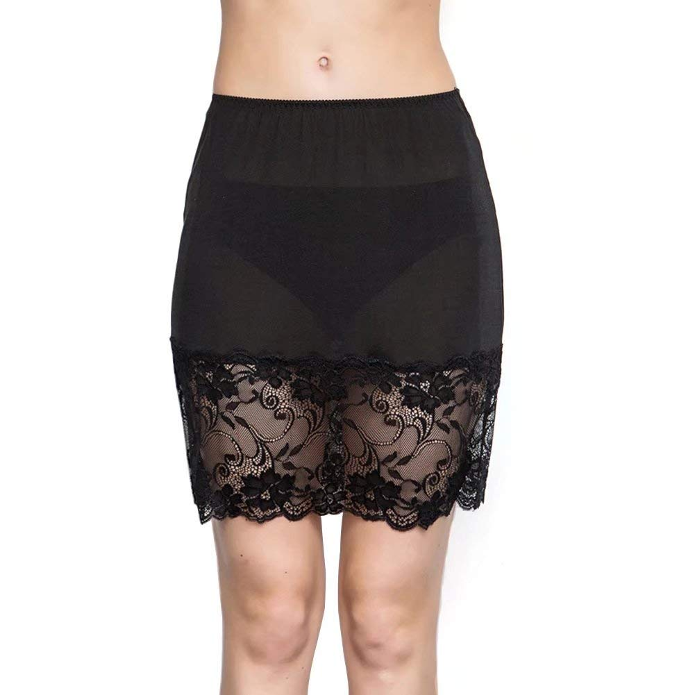 ab9a40bfd124 Zylioo Pure Nature Silk Knitted Tailored Lace Half Slips Underskirt Ultra  Thin Breathable and Anti-