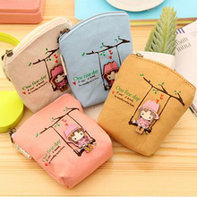 New Adorable Women Canvas Wallet Small Clutch Zip Card Coin Holder Purse Handbag 73Q6