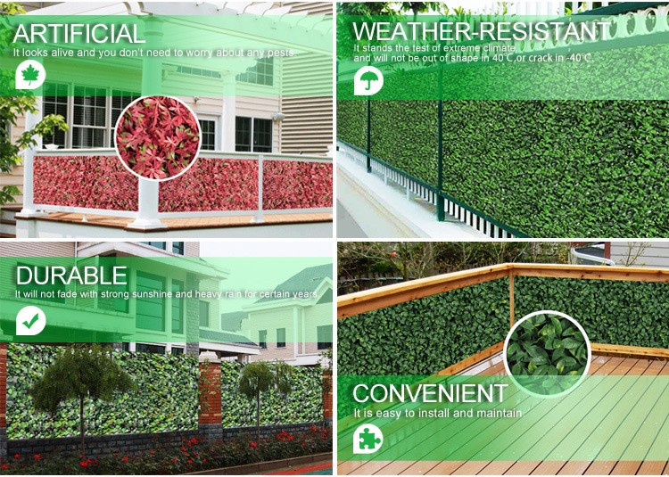 artificial hedge screen fence laurel leaves wall garden 1x3m hedging