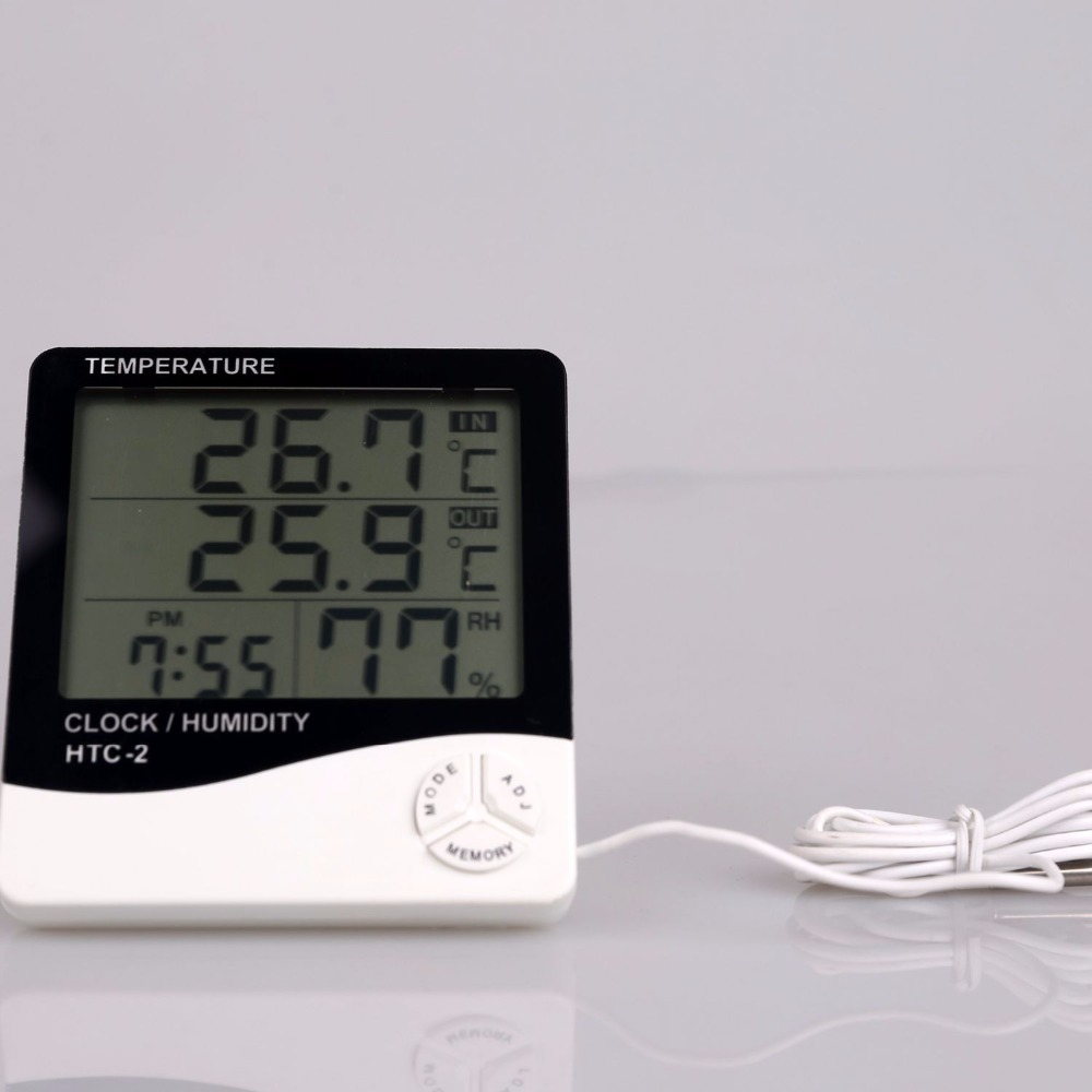 With hygrometer and clock Multifunction digital Thermometer for showing <strong>temperature</strong>,humidity,time with LCD display HTC-2