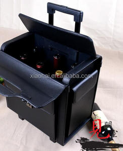 Senior business white wine suitcase,6 aluminum wine bottles trolley case/wine bottle display case