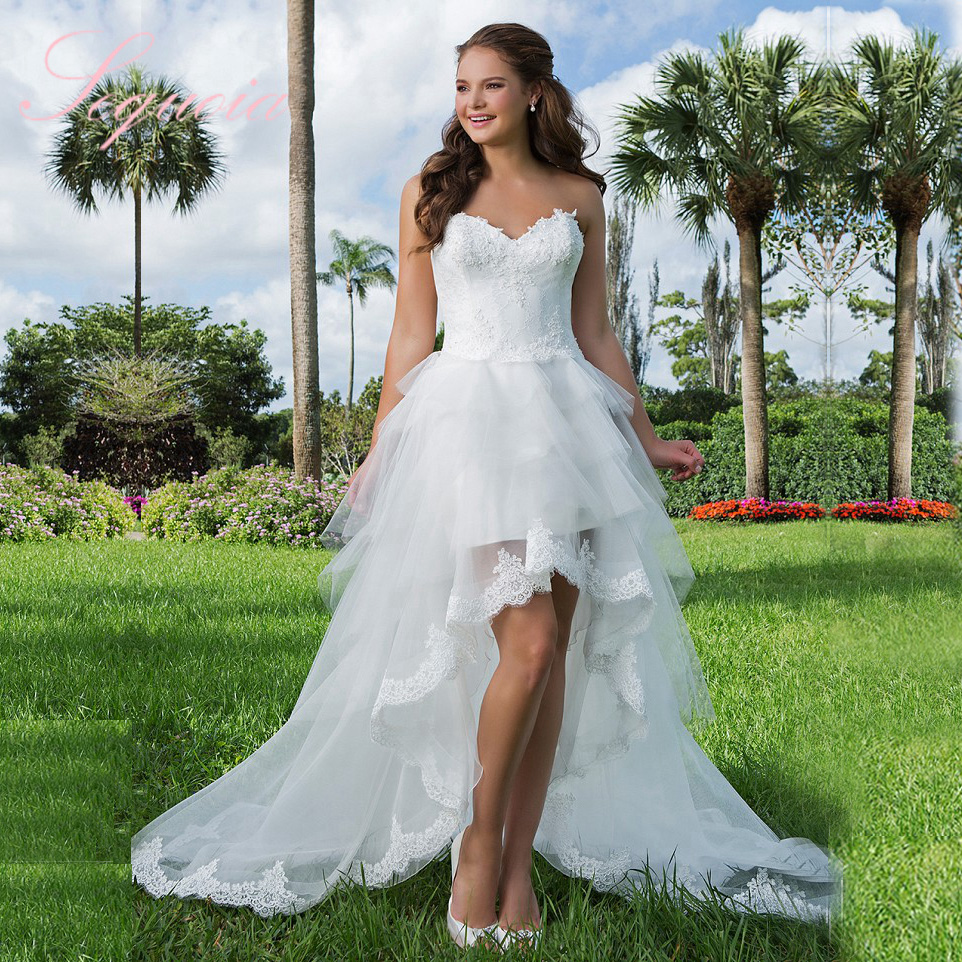 Bridal Custom Made Sweetheart High Low Wedding Dress Short