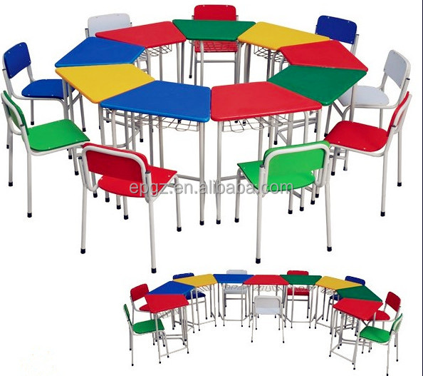 Nursery Children School Furniture Table With Chairs Study