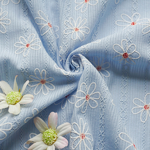 High Quality leno blue print 3d flower jacquard italian cotton shirt fabric for shirt