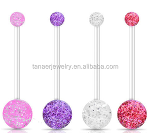 Acrylic 14Gauge Pregnancy Maternity PTFE Glitter Belly Bars Pink, Clear, Red & Purple belly ring