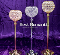 Top selling 73cm silver and gold K9 crystal candle holder centerpieces, crystal glass candle holder, wedding candle holder