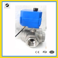 CTF001 3-port DC5V 1 inch T-flow stainless steel 304 electric motorized ball valve for auto Irrigation control equipment