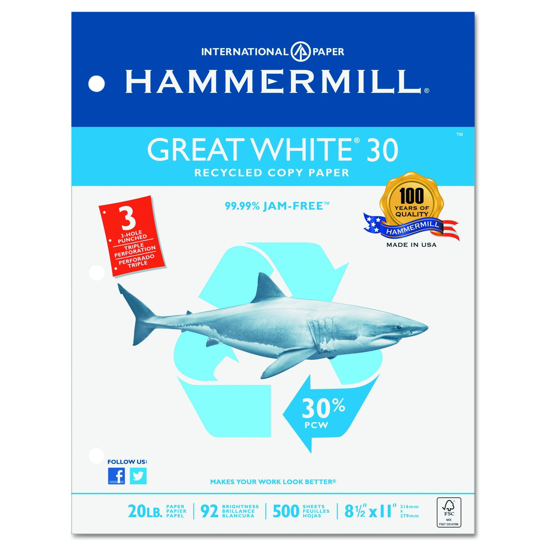 Hammermill Paper, Great White 30% Recycled Printer Paper, 8.5 x 11 Paper, Letter Size, 3 Hole, 20lb Paper, 92 Bright, 1 Ream / 500 Sheets (086702C) Acid Free Paper