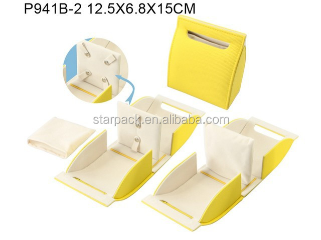 Adorable Yellow Self Closing Soft Leather Jewelry Bracelet Paper Gift Box P941B-2