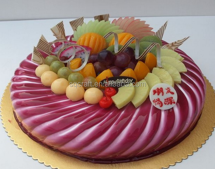 Artificial anniversary birthday cake model with fake fruits for shop