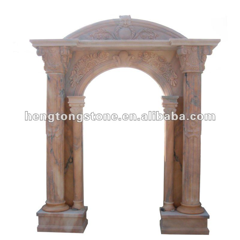 Red Marble Column Arch Pattern Carving