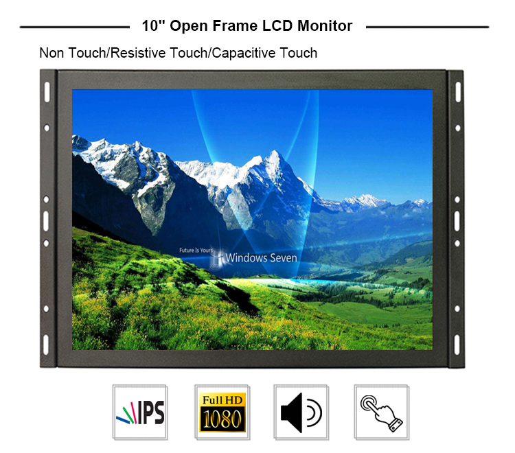 9.7 inch hd detachable bezel wall mounted resistive 4-wire touch screen open frame monitor