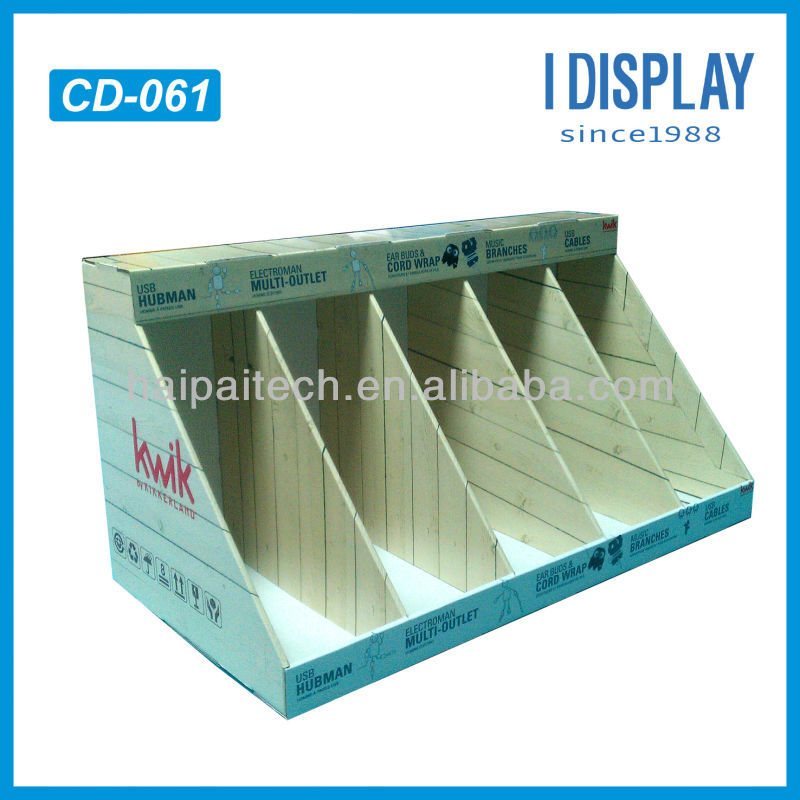 cardboard counter display for USB hub and cables