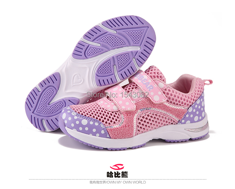 Hobibear 2015 spring children shoes girl breathable mesh sneaker casual fashion dot shoes girl pink purple delicacy shoe G253