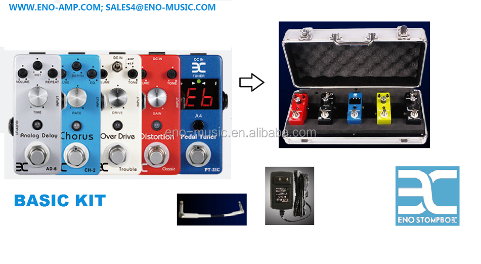 Basic kit/tuner+classic distortion+trouble distortion+chorus+delay+flightcase+power adaptor+4 stukken kabel