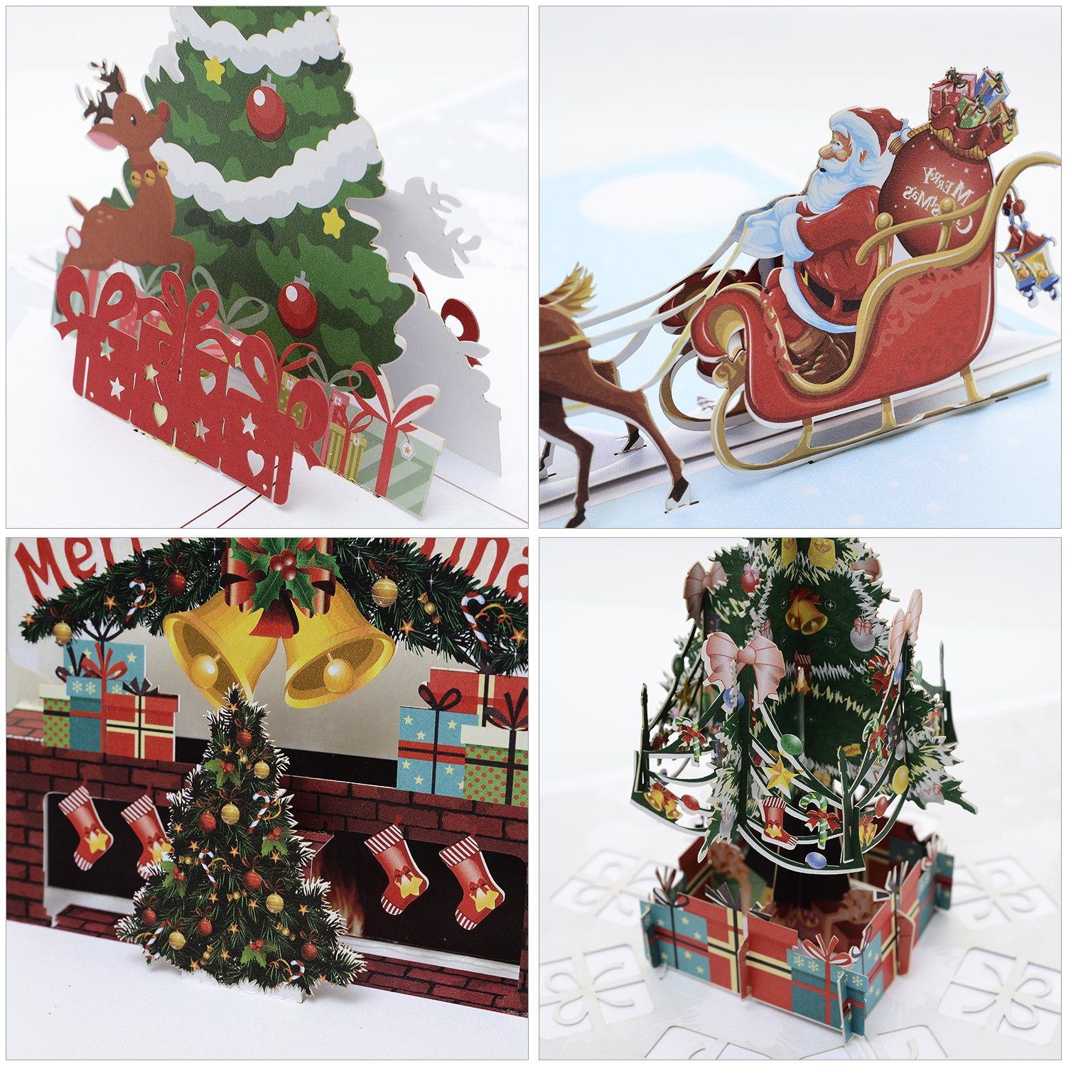 5 Paper Cutout Starry Christmas Tree Decorations 8ct