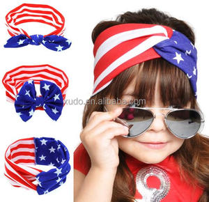 free shipping new USA flag style headband kids rabbit ear headband