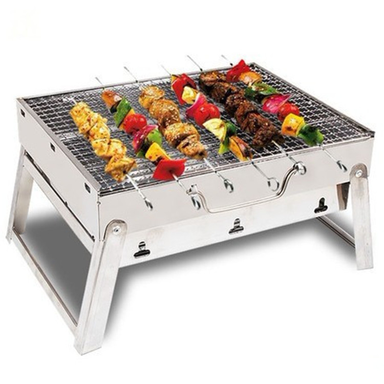 Outdoor Camping Picnic Cooking Portable Foldable Stainless Steel Barbecue Charcoal mini BBQ Grill box Oven