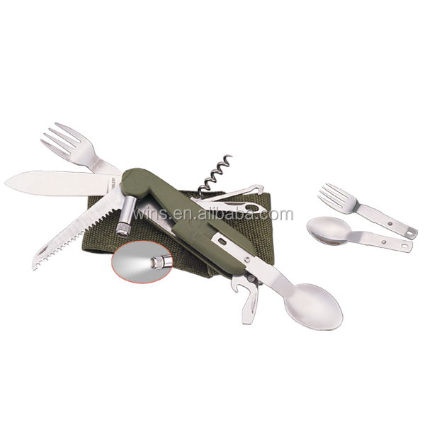 Detachable Multi-Functional Camping Cutlery knife spoon and fork Set
