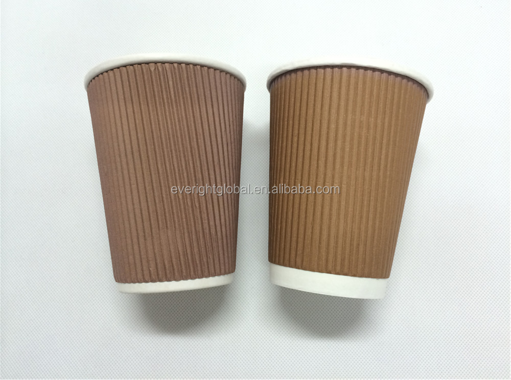 F103 China Factory Low MOQ custom logo ripple wall paper cups 8OZ
