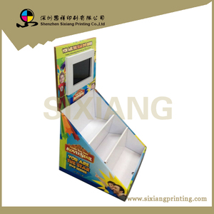 floor standing advertising cardboard display stand with lcd screen