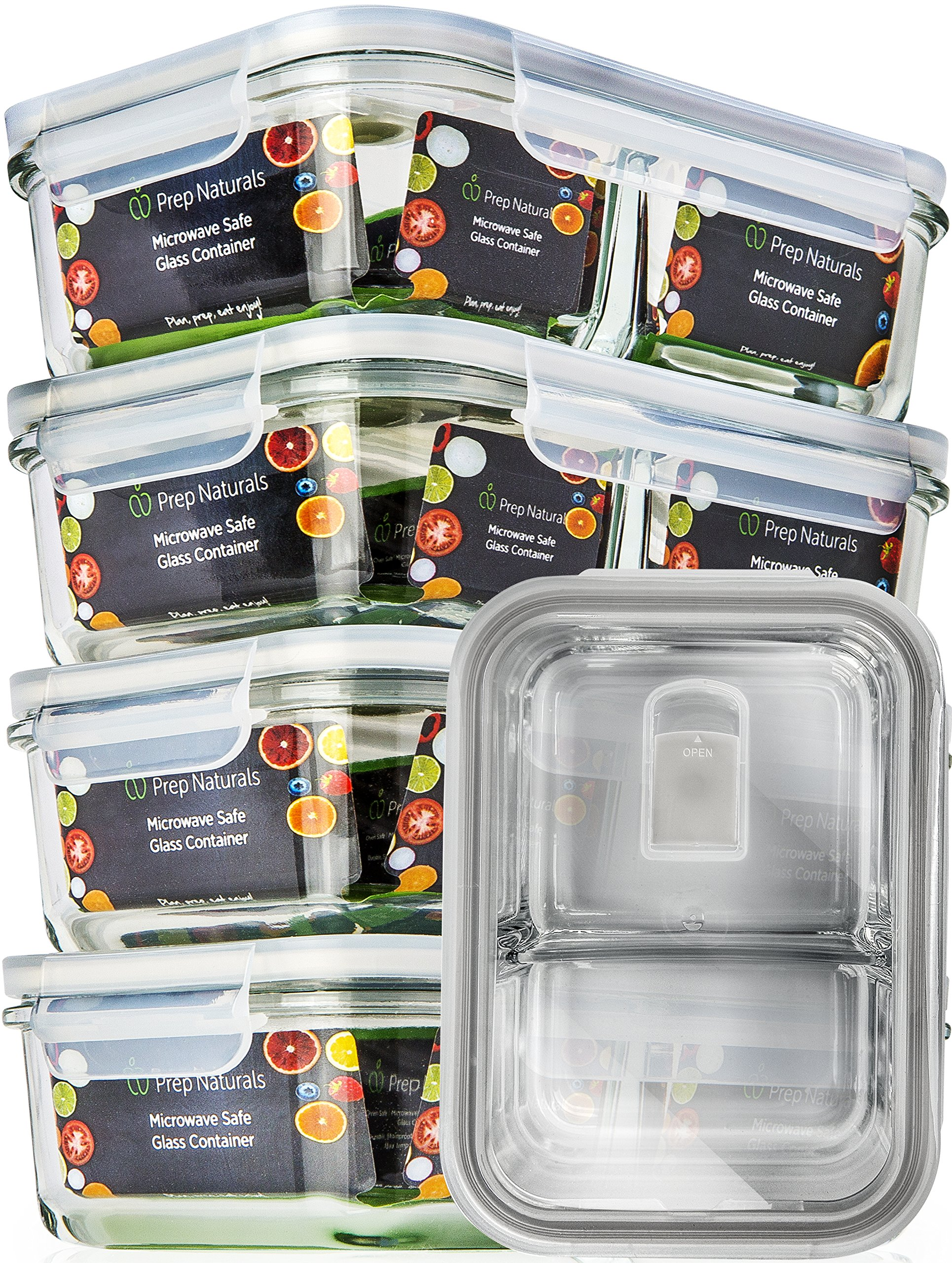 Get Quotations · [5 Pcs] Glass Meal Prep Containers Glass 2 Compartment   Glass  Food Storage Containers
