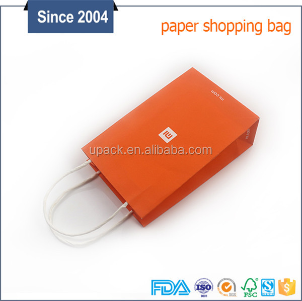 Custom size white heavy weight brown kraft paper bag